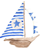 Sail boat with blue sails