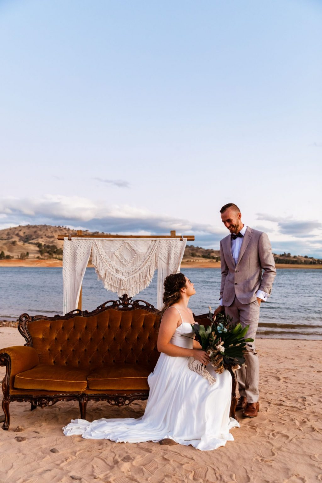 Wedding photo on the shore of the lake hume
